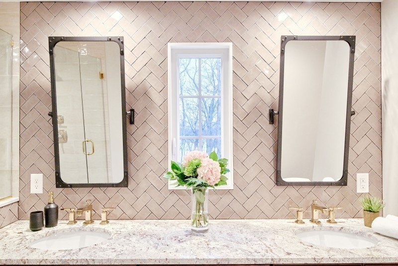 interior design bathroom remodel greenwich ri after double vanity taupe herringbone tile