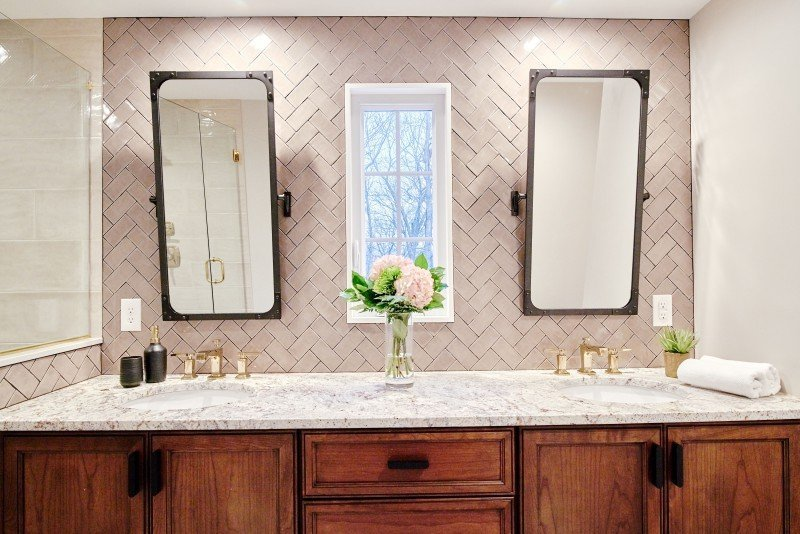 interior design bathroom remodel greenwich ri double vanity herringbone tile