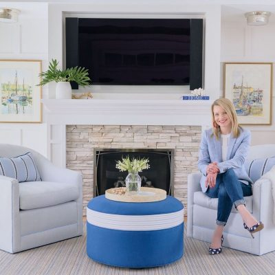 blakely interior design renovation stone fireplace living room blue white RI jpg 1