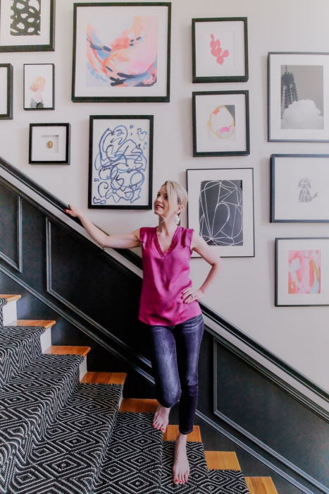cost interior designer blakely RI gallery wall staircase black white pink