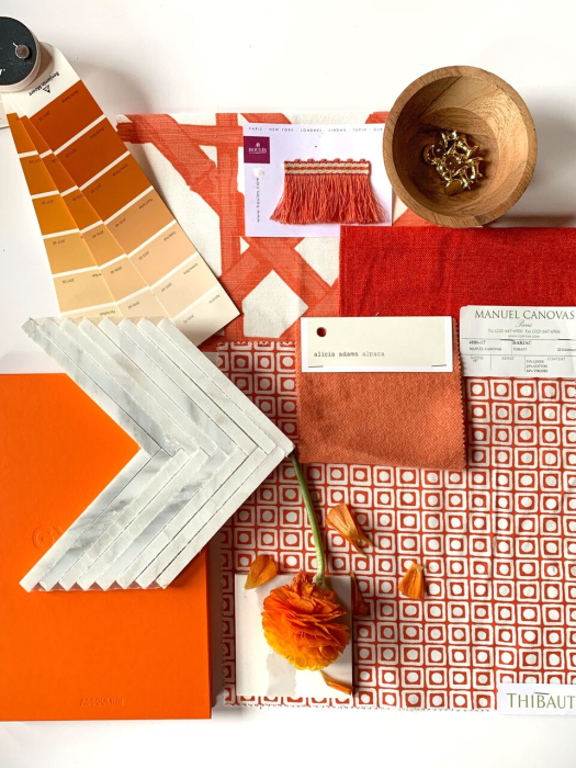 blakely-interior-design-ri-studio-flatlay-in-orange-red-gold-warm-brown