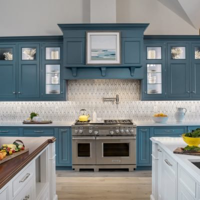 blakely interior design kitchen entertaining blue cabinets white double island RI firm