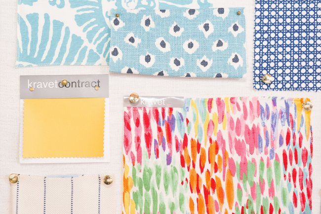 flatlay fabrics yellow blue leaves dots leopard in color home design inspiration RI