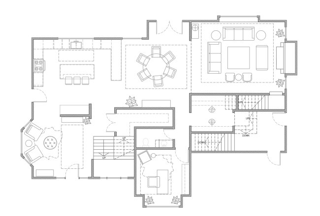 floor plan with to scale furniture drawn open concept kitchen living room dining lounge RI blakely interior design process