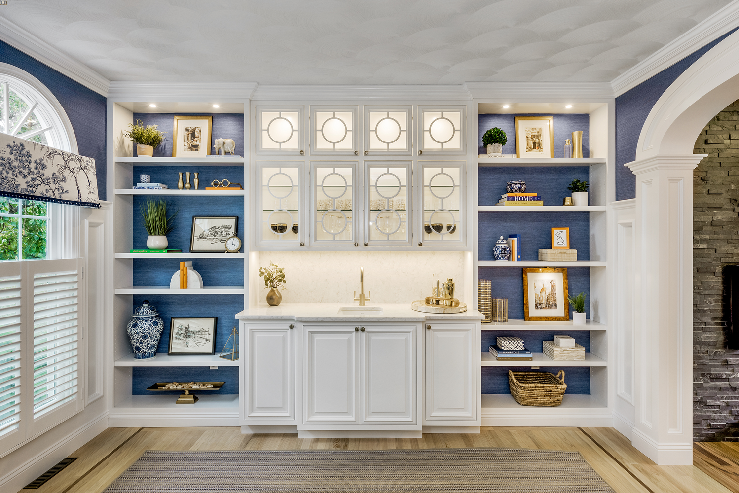 builtin bar mullion glass cabinets wallpaper blue shelves