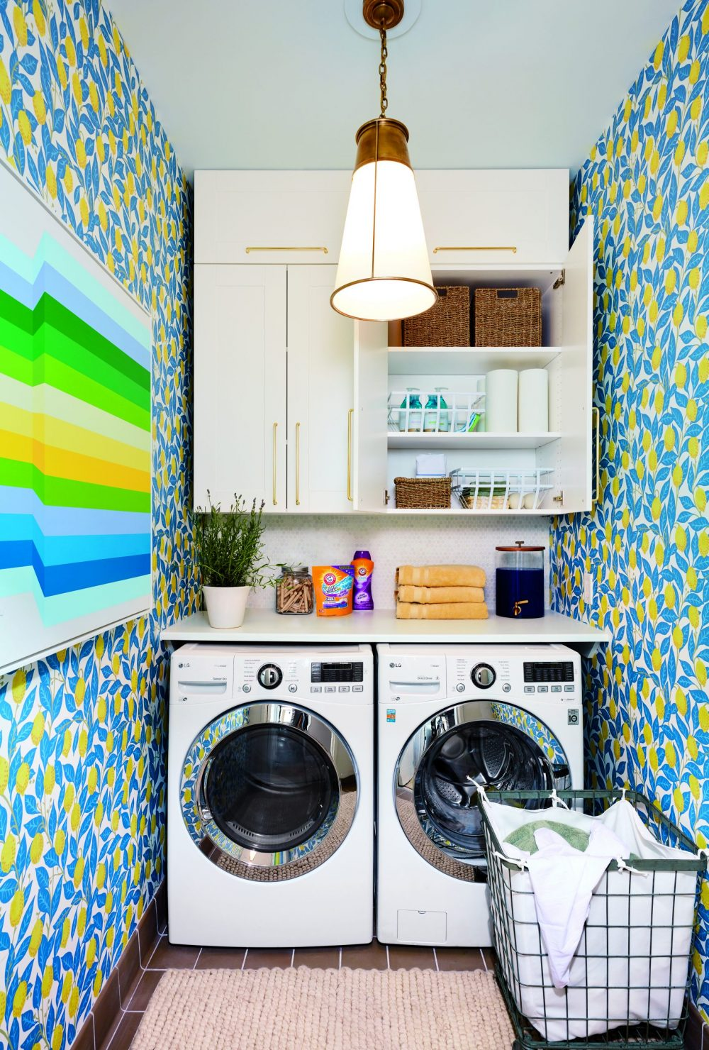 NEAT Organized Laundry room with vibrant colors