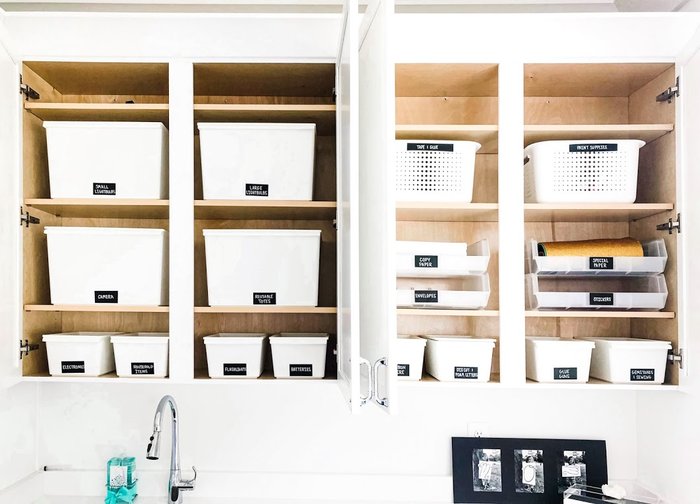 NEAT Utility Cabinets After labeled bins organization systems