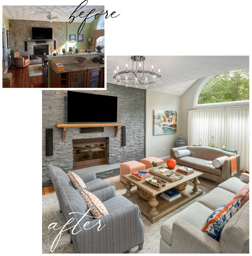 before after reveal living room kingstown ri casual elegance orange blue