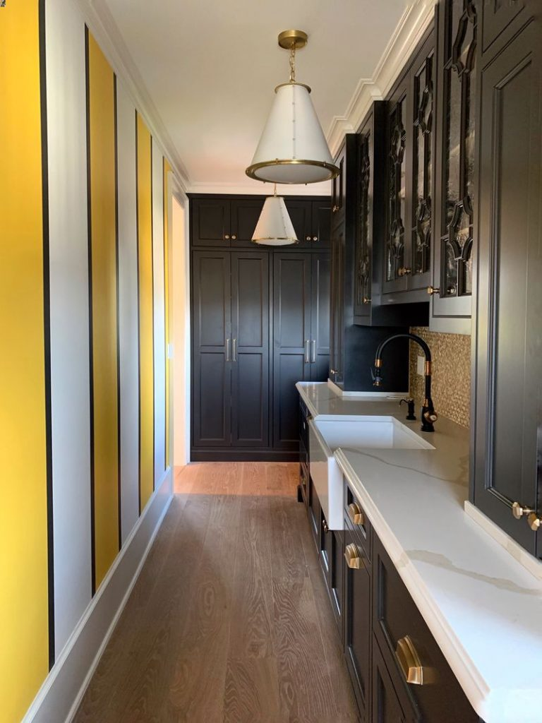 Yellow stripe wall in butlers pantry