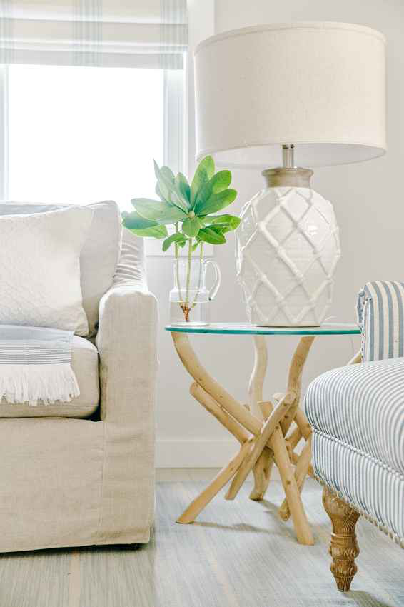 bright coastal vibe lamp side table sofa chairs
