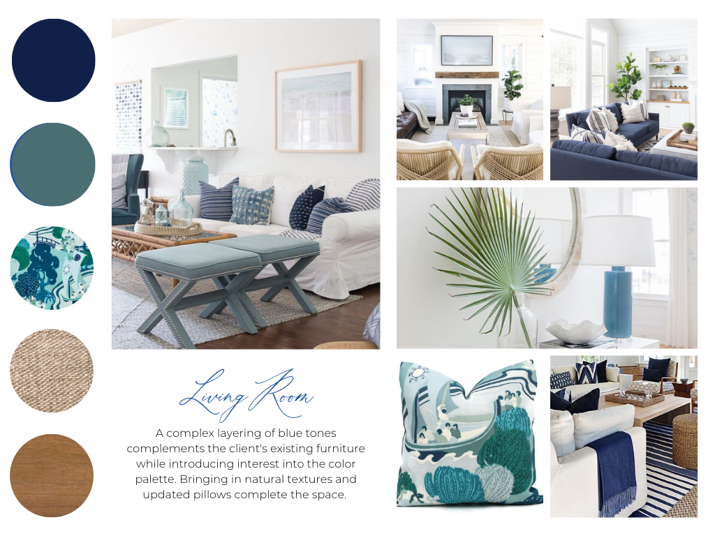blakely interior design concept for living room schematic design board mood teal navy print woodsy RI