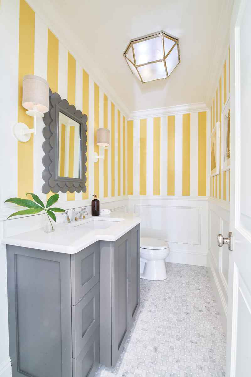 blakely interior design color specialists yellow striped bathroom grey vanity refreshing bright