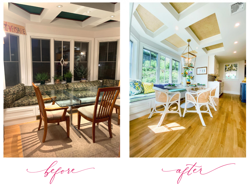 breakfast nook cranston RI before and after coffered ceilings grasscloth chairs with caning