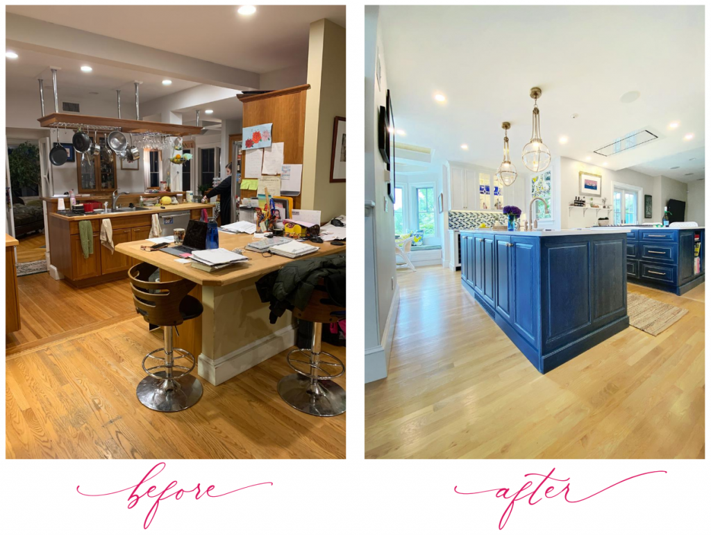 kitchen remodel before and after new double island blue globe pendants overhead ventilation