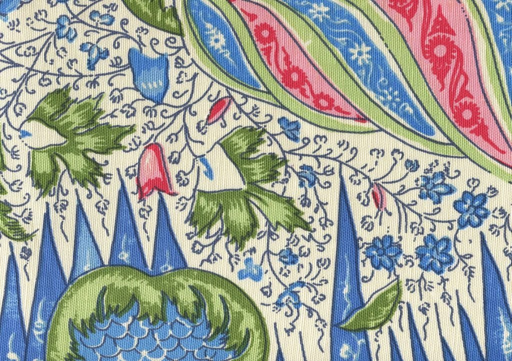 les indiennes fabric rouge blue green design inspiration blakely master bedroom 1