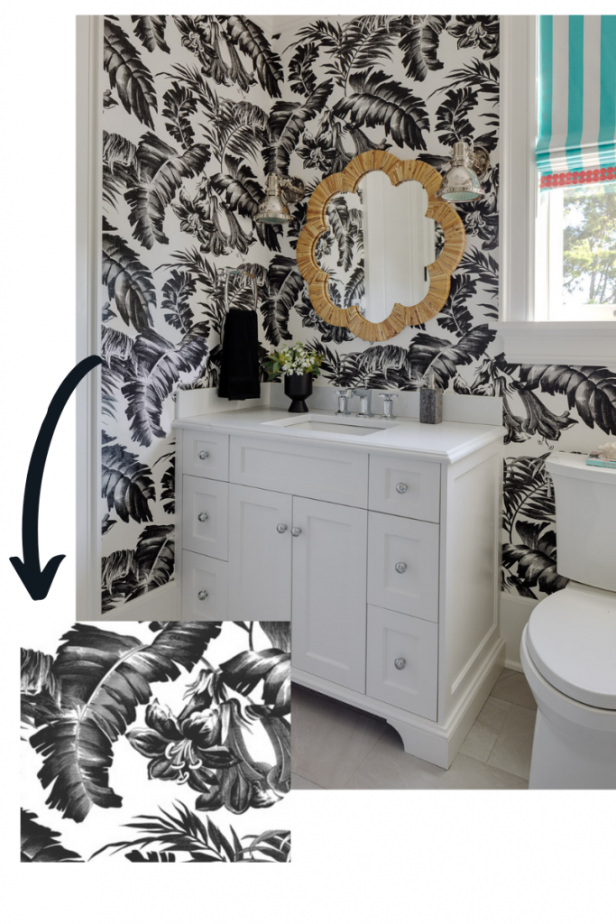 plantation in black and white gaston y daniela wallpaper powder room blakely interior design kingstown ri