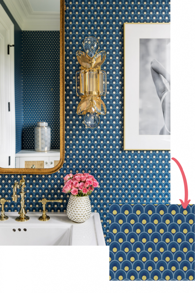 wallpaper spencer in metallic gold on navy anna french powder room brass sconce white vanity