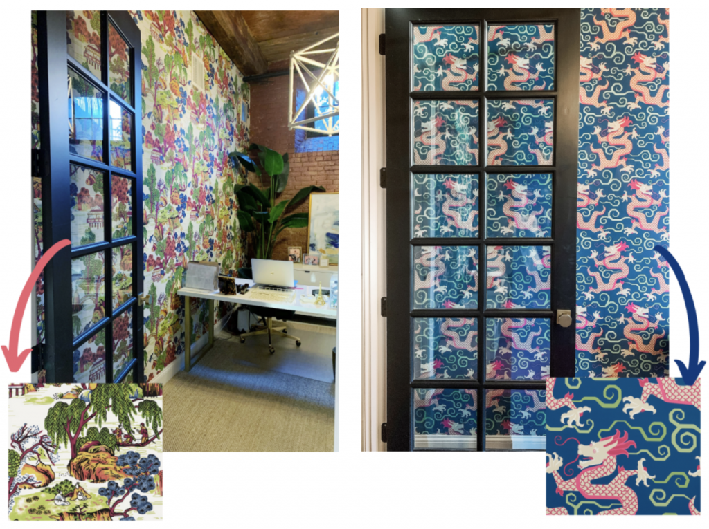 blakely interior design studio offices wallpaper china motif dragons nature kingstown ri