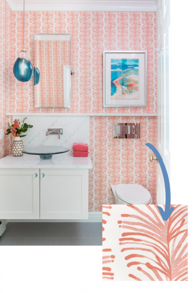 emma wallpaper in coral by pepper home palms beachy coastal themed powder room blakely interior design