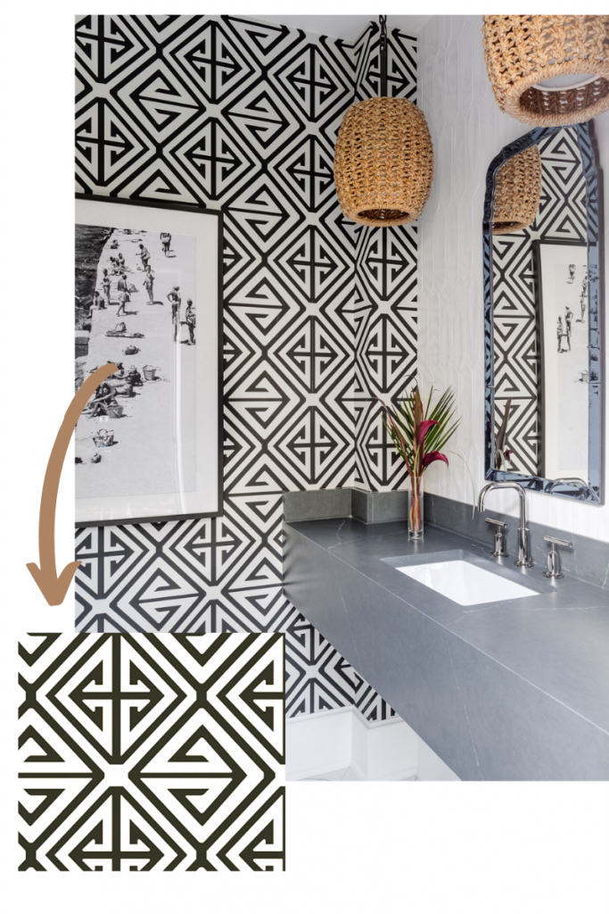 wallpaper demetrius in black by thibault basket lighting gray vanity tribal pattern