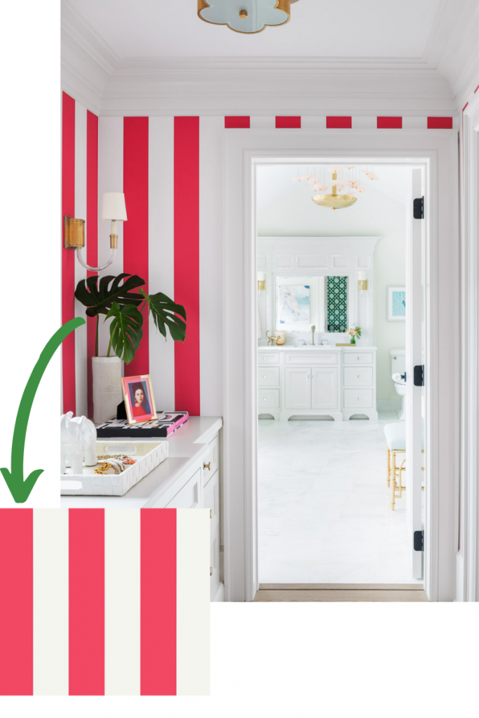 wallpaper summer stripe in raspberry by thibault blakely interior design closet bright feminine bold
