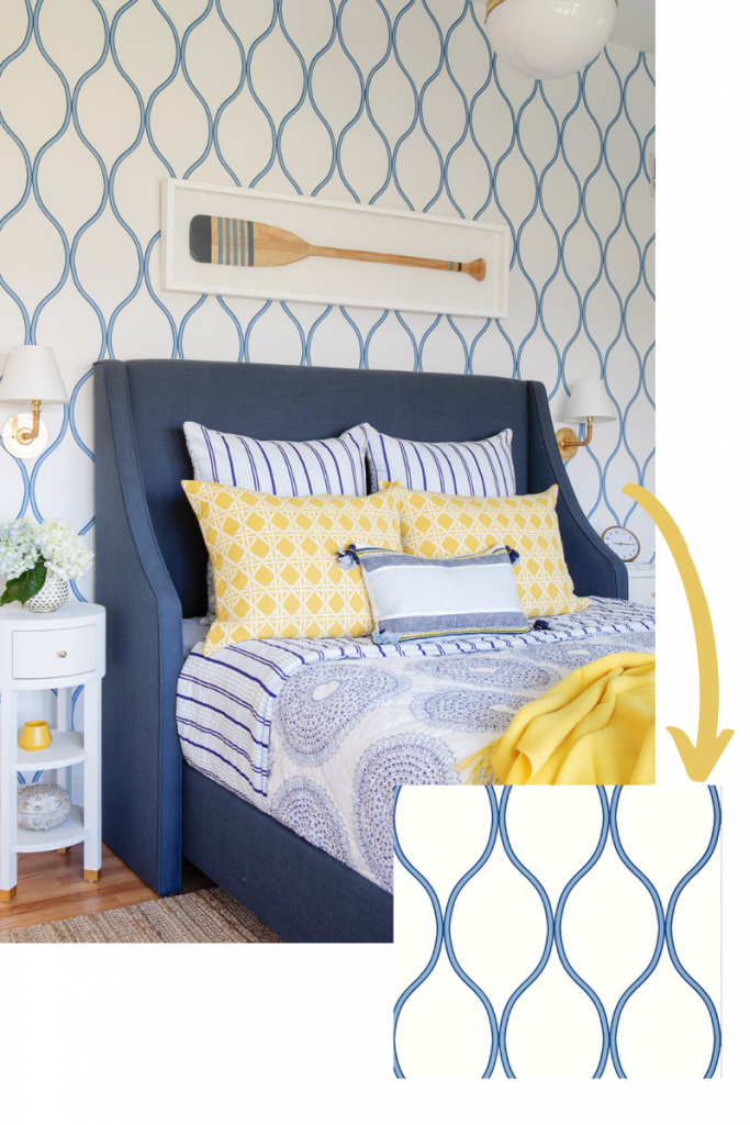 wallpaper camber in blue by thibault master bedroom ocean inspired sinuous yellow accents
