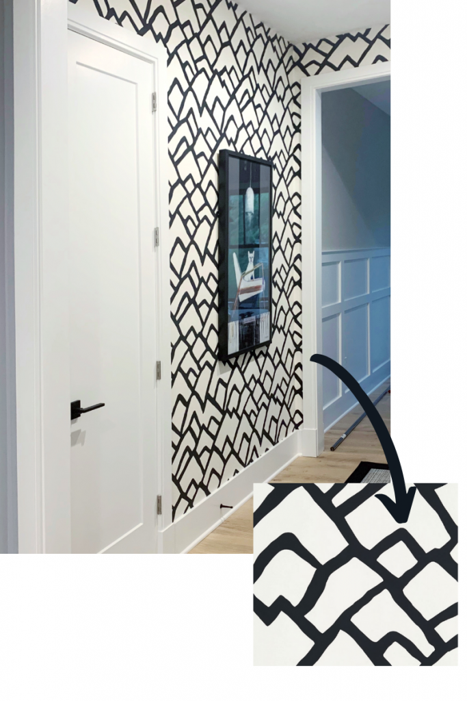 zimba in ebony by schumacher wallpaper freeform geometric blakely interior design