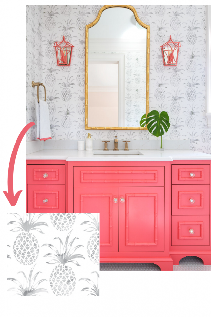 pina pintada in gull by aimee wilder pineapple wallpaper grey and white watermelon pink vanity sconces blakely interior design kingstown ri