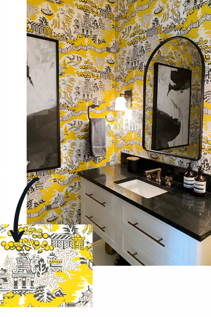 blakely interior design wallpaper powder room luzon in grey and lemon by thibault kingstown ri