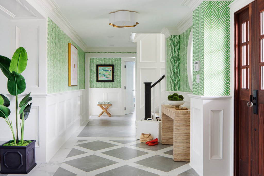 new jersey palm project green wallpaper marble floors vibrant coastal aesthetic blakely interior design