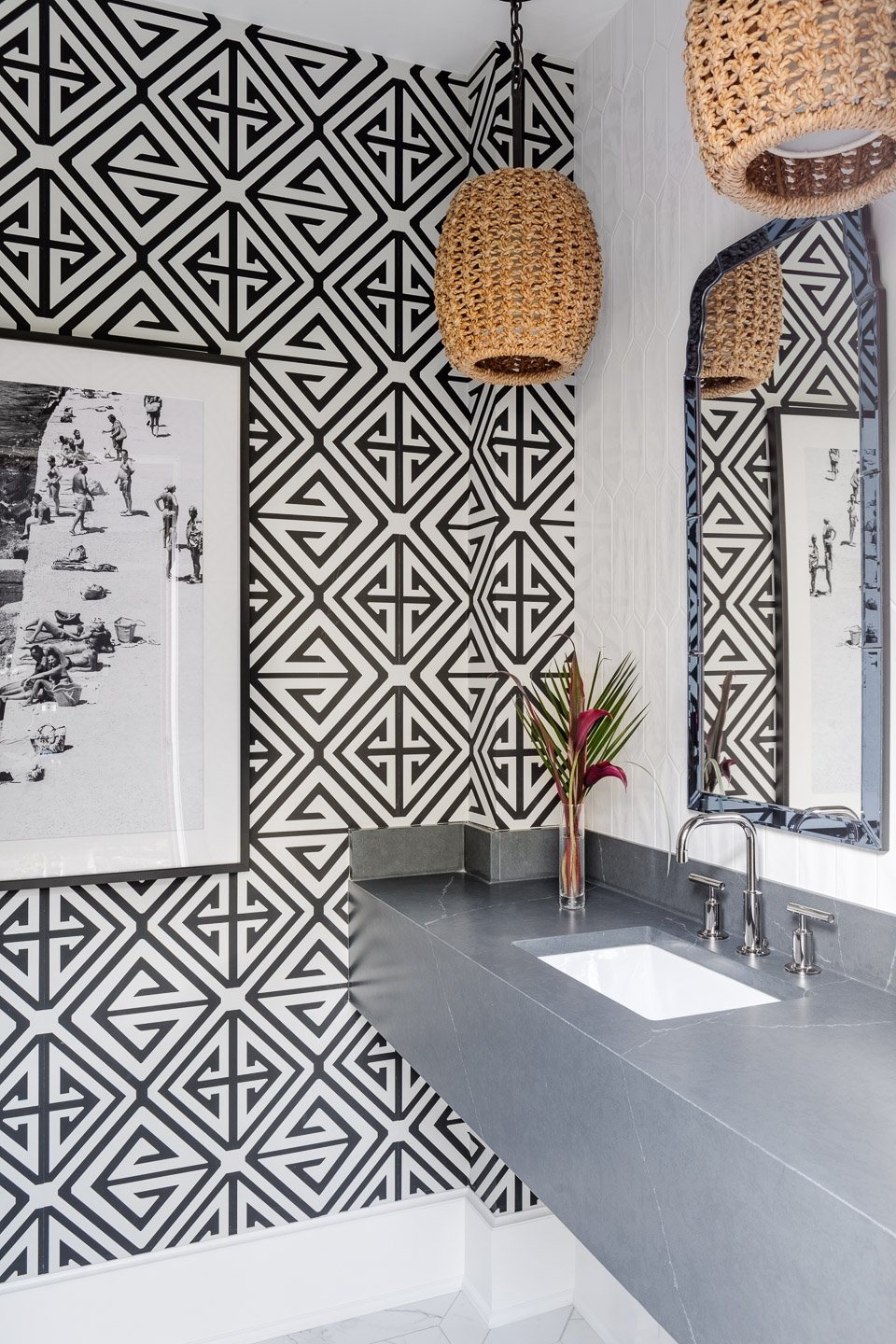 Blakely Interior Design | The Jersey Palm Project | The Pool House Bathroom