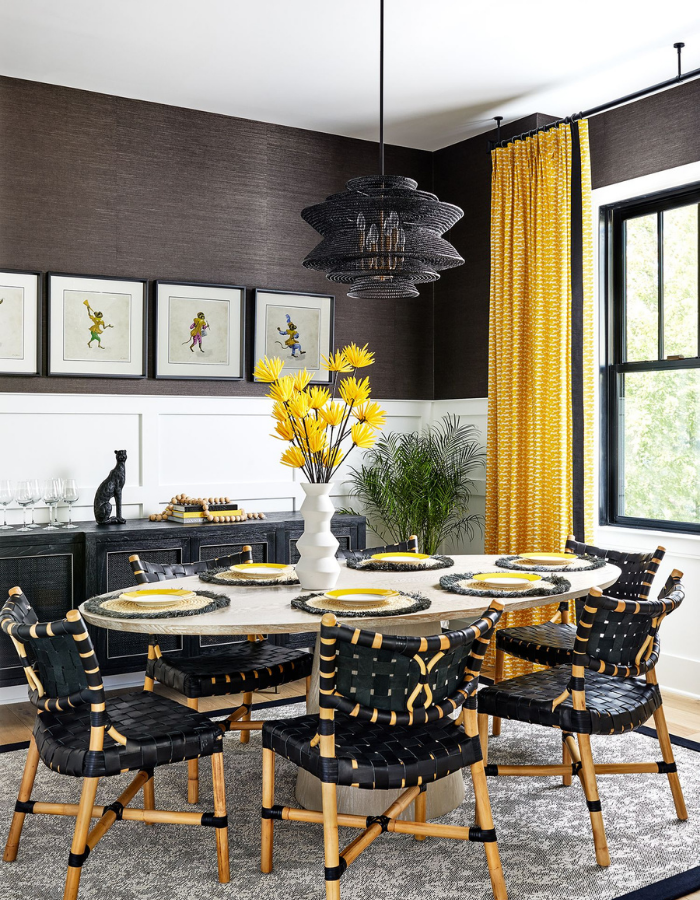 new build arlington va dining room redesign black leather chair basket lighting yellow leopards drapery textured grasscloth wallpaper