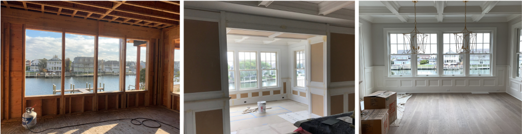 building a custom home design process construction coffered ceiling wainscoting