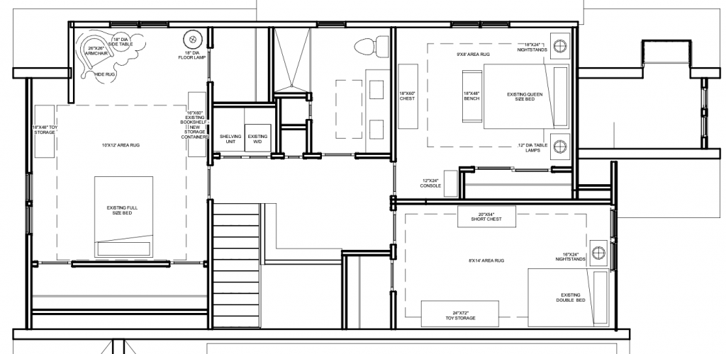 floor plan illustrating planning the lighting in a house