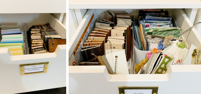 blakely interior design kingstown ri behind the scenes design library drawers filled with hardware blinds and shades samples