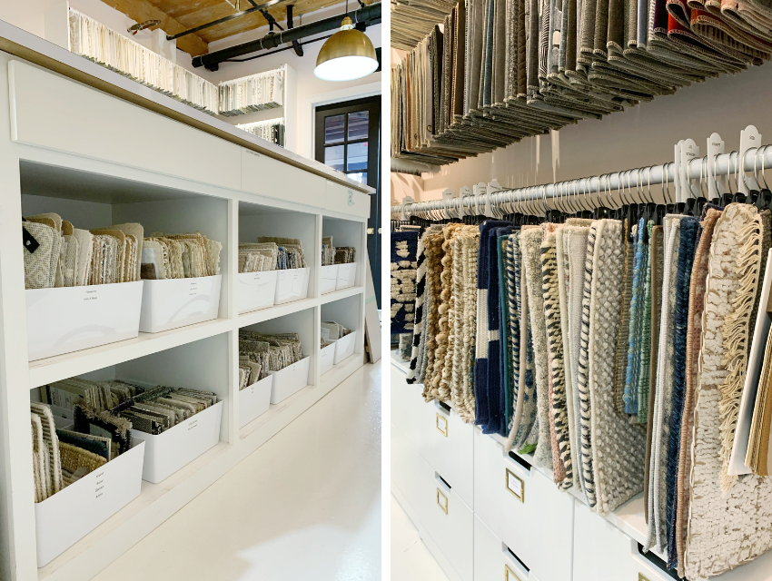 blakely interior design kingstown ri behind the scenes design library organized fabrics in bins hanging