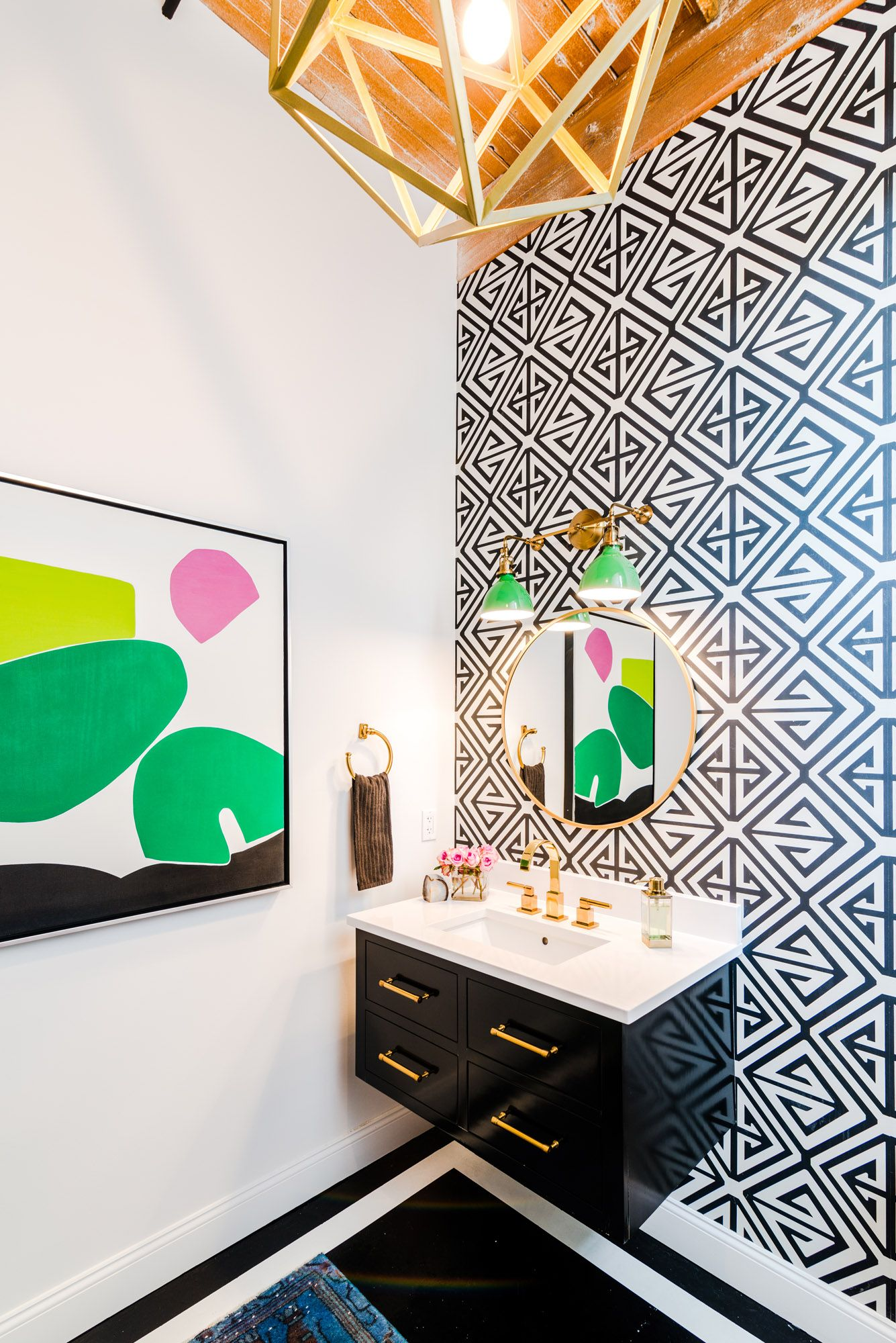 Blakely interior design kingstown ri add art to your home blakely powder room geometric wall paper bold abstract art