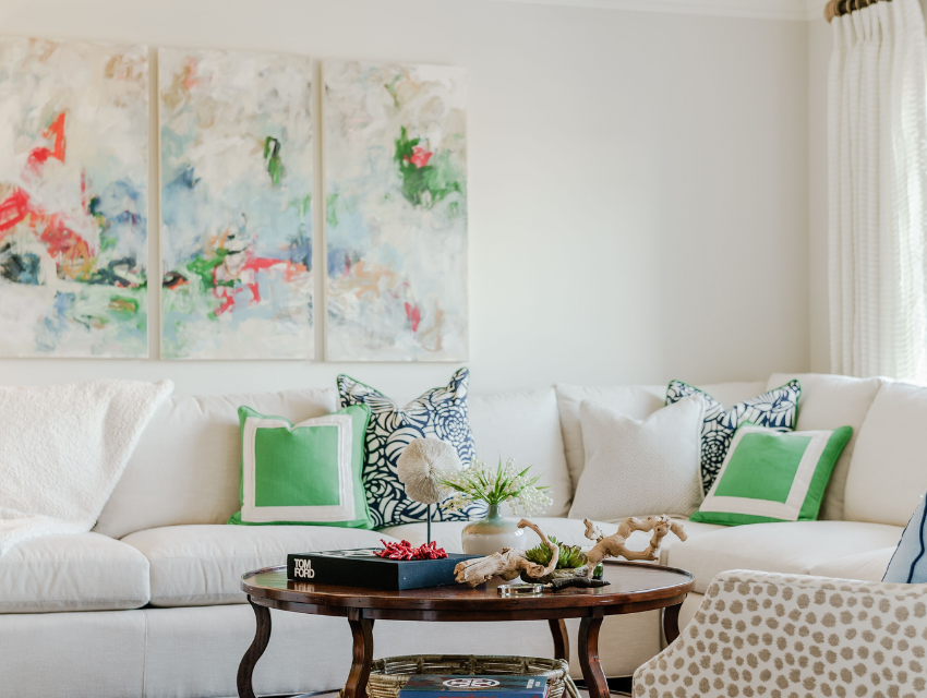 Blakely interior design kingstown ri add art to your home commissioned art by linda donahue floral white sectional sofa green accent pillows