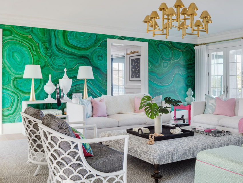 Blakely interior design kingstown ri add art to your home hand painted malachite wall by deb sabo office wall