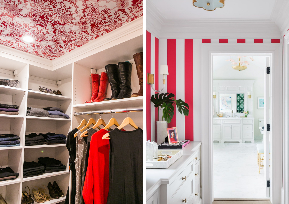 blakely interior design kingstown ri small spaces bright red and pink wallpaper bedroom walk in closet