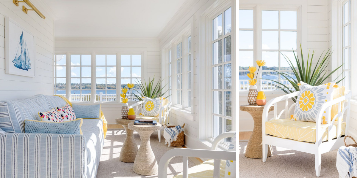 blakely interior design kingstown ri sunrooms and summer homes in new england barrington home sunroom pops of yellow light blue striped sofa large windows
