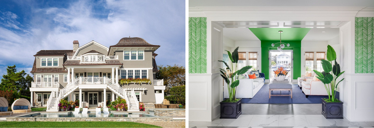 blakely interior design kingstown ri sunrooms and summer homes in new england mantoloking home vibrant green wall paper white sofas