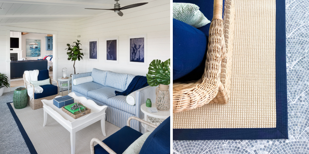 blakely interior design kingstown ri sunrooms and summer homes in new england ocean medow sunroom light blue striped couch costal elemnts