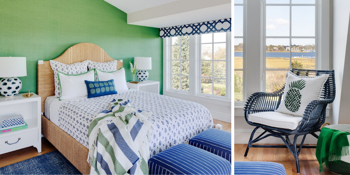 blakely interior design kingstown ri sunrooms and summer homes in new england vibrant green accent wall masculine deep ocean blue tones coastal decor