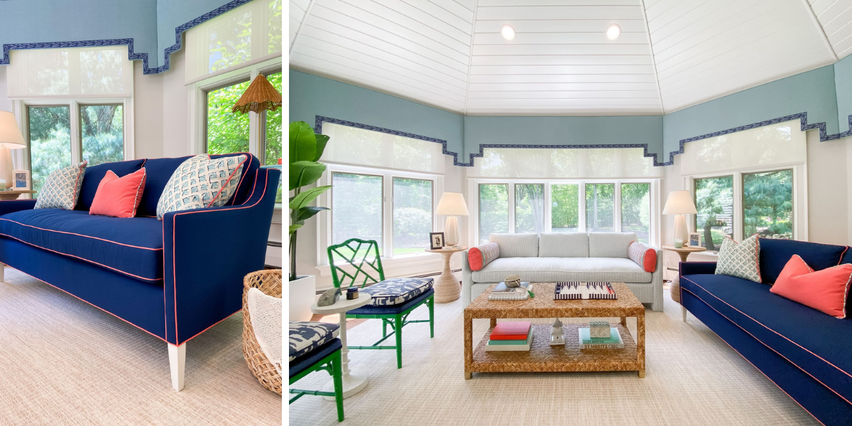 blakely interior design kingstown ri sunrooms and summer homes in new england vibrant green accents blue sofa coral pillow large woven coffee table florida costal inspired