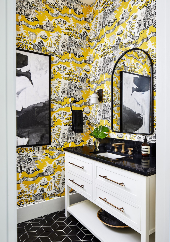 blakely inerior design new england designing with tile powder room with yellow black patterned wallpaper