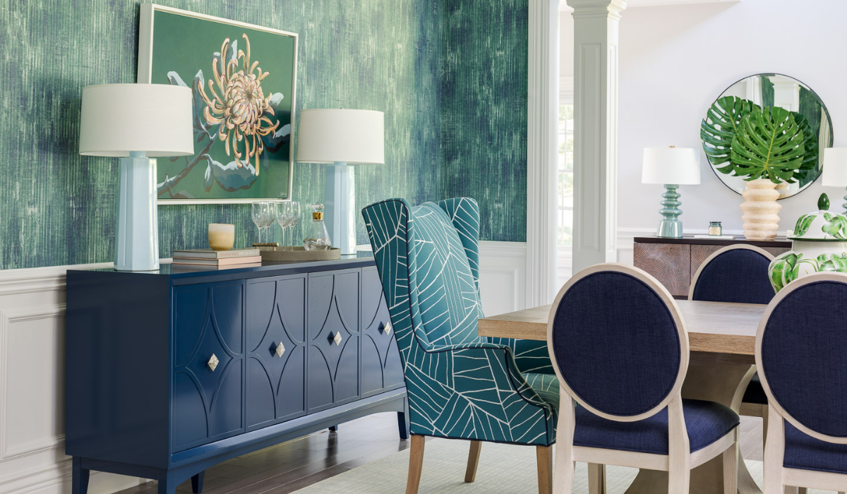 blakely interior design jamestown new england traditional design in east greenwich dining room with textured wallpaper blue cradenza