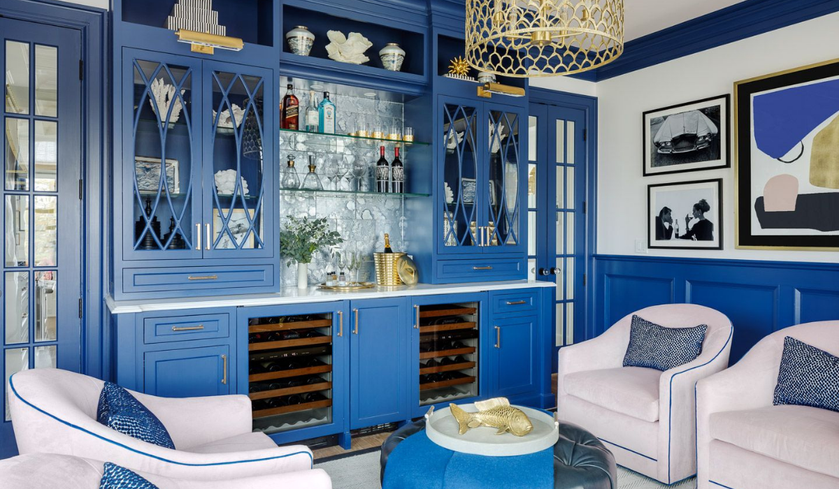 blakely interior design narragansett new england home accessories blue built in bar with open shelving