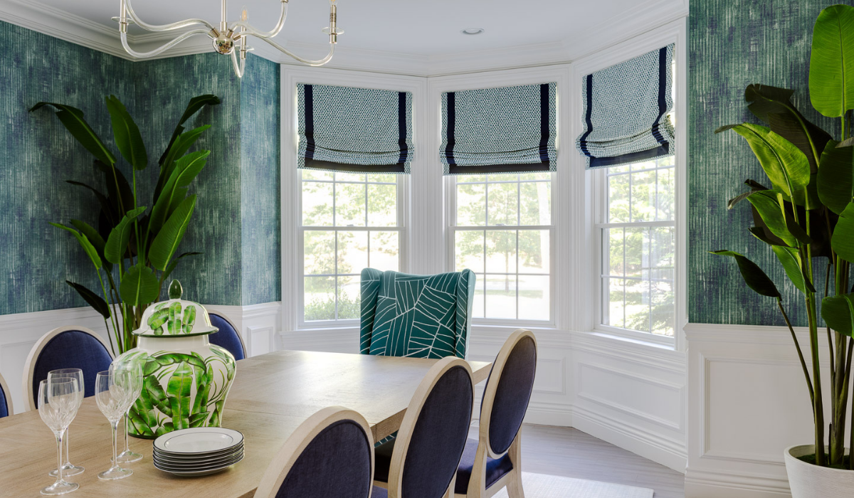 blakely interior design newport new england traditional design in east greenwich dining room with blue and green coloring 3 windows with roman shades