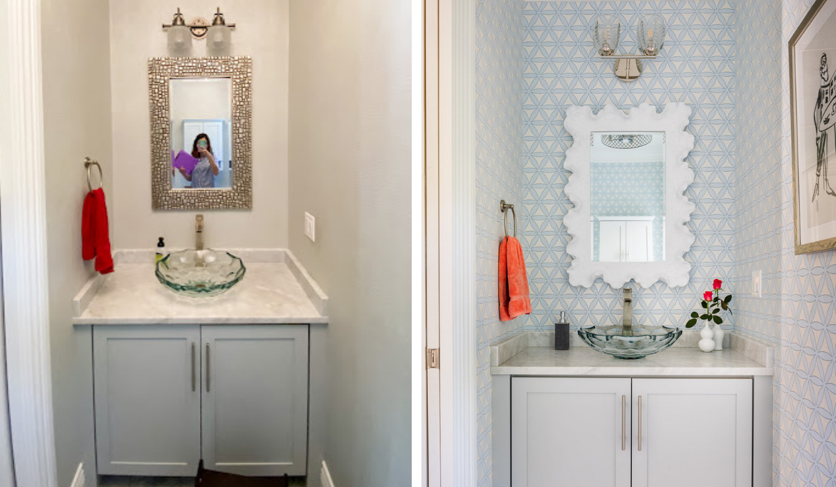 blakely interior design newport new england traditional design in east greenwich poweder room before and after with powder blue wallpaper